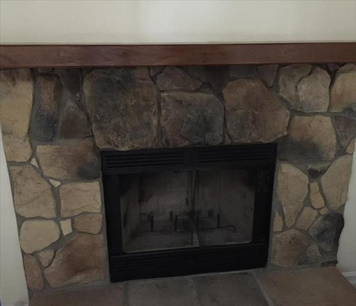 Soda Blasting Cleans Fireplace Before